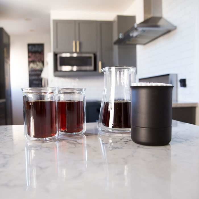 Stagg carafe and glasses